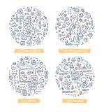 Illustrations de griffonnage de recherches et d'analyse illustration de vecteur