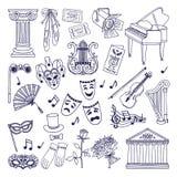 Illustrations de théâtre réglées Isolat de symboles de vecteur d'opéra et de ballet sur le blanc illustration libre de droits