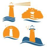 illustrations de vecteur avec le phare Photo stock