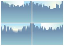 Illustrations de vecteur d'horizon de silhouettes de gratte-ciel de ville réglées P illustration stock