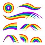 Illustrations de vecteur d'isolat différent d'arcs-en-ciel sur le blanc Calibre pour la conception de logo Images libres de droits