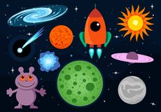 Illustrations de vecteur de bande dessinée de l'espace réglées Photo stock
