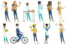 Illustrations de vecteur de femmes professionnelles réglées Images libres de droits