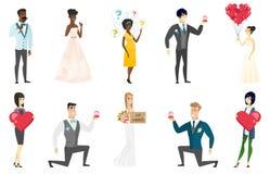 Illustrations de vecteur de jeunes mariés réglées illustration stock