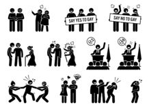 Gay man social problems and life hurdles. Illustrations depict homosexual men facing social difficulties, acceptance, rejections, and bullying vector illustration