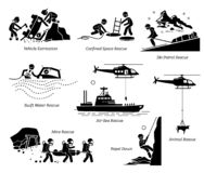 Rescue operations artworks and illustrations. Illustrations depict life saving and rescue operation in different places and situations for both human and animal vector illustration