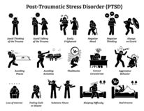 Post Traumatic Stress Disorder PTSD signs and symptoms. Illustrations depict man with post traumatic stress disorder facing difficulty in life and mental issue stock illustration
