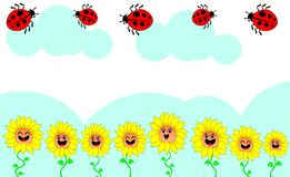 The illustrations depict sunflower fields and flying. Illustrations depict sunflower fields and flying beetles flying in the sky. This type of media is suitable Royalty Free Stock Photo