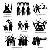 Social Issues World Problems Pictogram Icons. Illustrations depicts government transparency, riot, civil war, and conflict. It also includes terrorism Stock Images