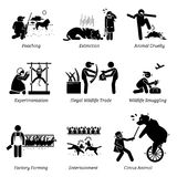 Animal Rights and Issues Stick Figure Pictogram Icons. Illustrations depicts poaching, extinction, animal cruelty, experimentation, illegal wildlife trade Stock Photos