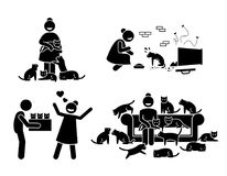 Crazy Cat Lady Stick Figure Pictogram Icons. Illustrations depicts a woman with a lot of cats in her house. She adopts, loves, and feeds stray cats Royalty Free Stock Images