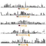 Illustrations des horizons de Dubaï, d'Abu Dhabi, de Doha, de Riyadh et de Kuwait City Images stock