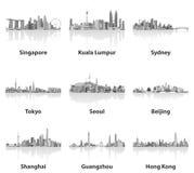 Illustrations des horizons de Singapour, de Kuala Lumpur, de Sydney, de Tokyo, de Séoul, de Pékin, de Changhaï, de Guangzhou et d illustration stock