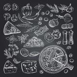 Illustrations des ingrédients de pizza sur le tableau noir Photos réglées de la cuisine italienne photographie stock