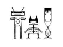 Illustrations des robots heureux d'arbre photos libres de droits