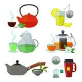 Illustrations des tasses et des bouilloires pour différents types de thé Illustration de Vecteur