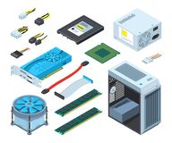 Illustrations of different electronic parts and components for computer. Hardware for computer, chip processor and part component semiconductor and Royalty Free Stock Photo