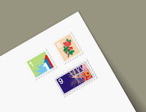 Illustrations different stamps letter. Illustrations three holiday stamps in letter Royalty Free Stock Images