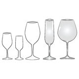 Illustrations of different types of glasses vector illustration