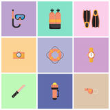 The illustrations are dive equipment icons. Stock Images