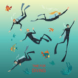 Illustrations of divers flat style Stock Image