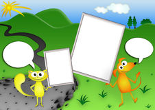 Illustrations of dog and cat. Cat and dog holding a white board Royalty Free Stock Images