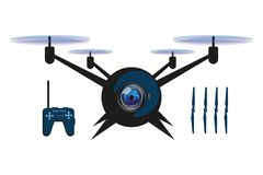 Illustrations of Drone quadrocopter. Drone with camera. Robotics illustration. Vector graphics to design Royalty Free Stock Image