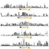 Illustrations of Dubai, Abu Dhabi, Doha, Riyadh and Kuwait city skylines Stock Images