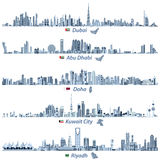 Illustrations of Dubai, Abu Dhabi, Doha, Riyadh and Kuwait city skylines Stock Photography