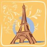 Illustrations-Eiffelturm mit Blumen und Backgro Stockbilder
