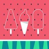 Illustrations-Eiscreme auf Wassermelonenhintergrund Lizenzfreie Stockbilder