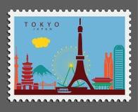 Stamp of Tokyo Japan. Illustrations of elements and landmarks of Tokyo. Vector elements vector illustration