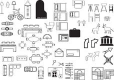 Illustrations elements. Lot of Illustrations elements for house planing Stock Photography