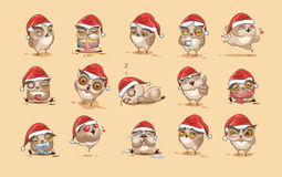 Illustrations  Emoji character cartoon owl stickers emoticons with different emotions Royalty Free Stock Image