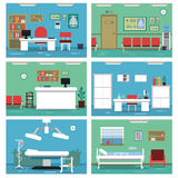 Illustrations of empty medical offices. Different rooms in hospital. Vector pictures set. Medical room with equipment, interior of reception room Royalty Free Stock Photography