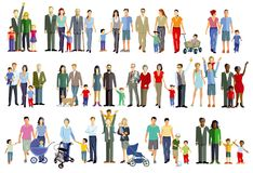 Illustrations of family  groups Royalty Free Stock Image