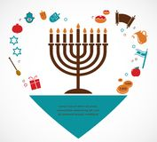 Illustrations of famous symbols for the Jewish Holiday Hanukkah Royalty Free Stock Image