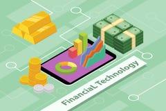Illustrations financières de concept d'affaires de technologie avec le style 3d isométrique Photographie stock libre de droits