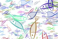 Illustrations of fish. Repeat, design, decoration & texture. Illustrations of fish. Good for web page, wallpaper, graphic design, catalog, texture or background Stock Photo