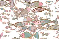 Illustrations of fish. Underwater, design, wallpaper & color. Illustrations of fish. Good for web page, wallpaper, graphic design, catalog, texture or Royalty Free Stock Photo