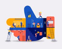 Workingspace create social like. Illustrations flat design concept working space building icons like button. Create by small business people working inside royalty free illustration