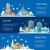 Illustrations of flat urban winter landscape Royalty Free Stock Image