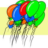 Illustrations of flying balloons. Colorful, background, greeting & art. Illustrations of flying balloons. Good for web page, wallpaper, graphic design, catalog Royalty Free Stock Photo