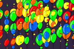 Illustrations of flying balloons. Cartoon, creative, decoration & details. Illustrations of flying balloons. Good for web page, wallpaper, graphic design Royalty Free Stock Images