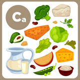 Illustrations of food with Ca. Stock Image