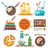 Illustrations of food in the cooking process. The whole range of food - fried, boiled, vegetarian, national. Healthy eating, diet and fast food Stock Photography