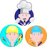 Illustrations in the form of icons are represented by the wizard of all trades. royalty free illustration