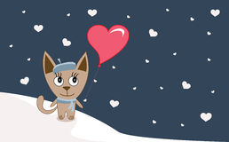 Illustrations Funny kitten with heart- balloon in winter, happy Stock Photo