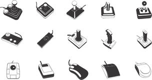 Illustrations of game controls. A collection of illustrations of game control devices such as joysticks Stock Photography