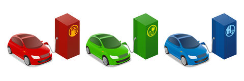 Illustrations of Gasoline Powered vehicle, Electric vehicle, Fuel cell vehicle Stock Photography